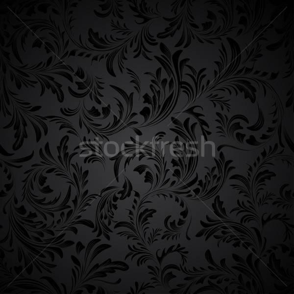 Fekete végtelenített virágmintás minta papír levél Stock fotó © 0mela
