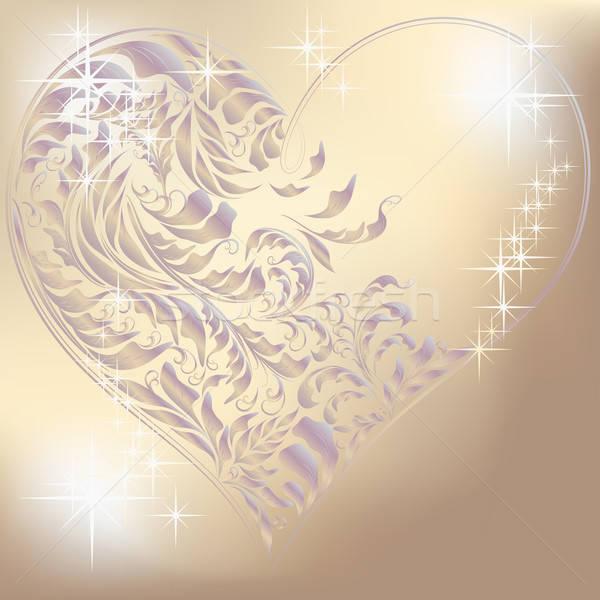 Gümüş kalp sevmek ışık Retro hediye Stok fotoğraf © 0mela