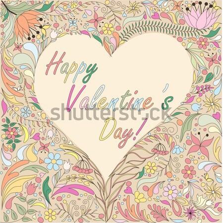 Valentijnsdag kaart heldere doodle patroon Stockfoto © 0mela