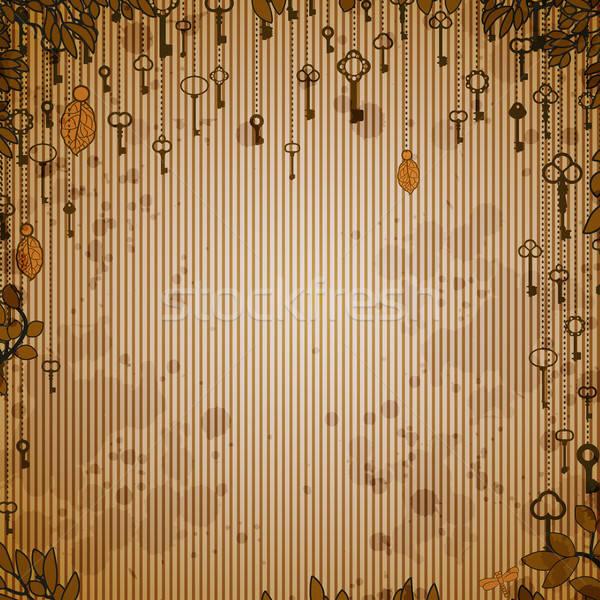 Soyut bağbozumu antika tuşları asılı ağaç Stok fotoğraf © 0mela