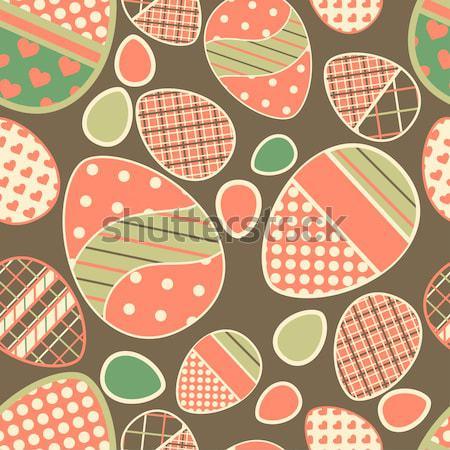 Naadloos grens Pasen gekleurde eieren alle patronen Stockfoto © 0mela