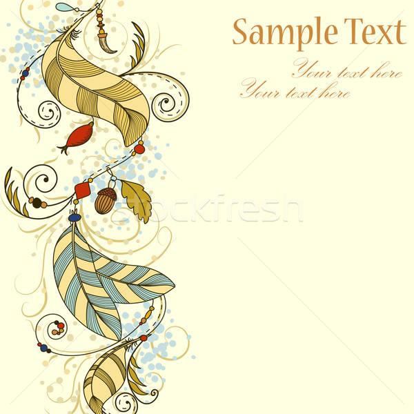 Wenskaart veren kralen ontwerp achtergrond veer Stockfoto © 0mela