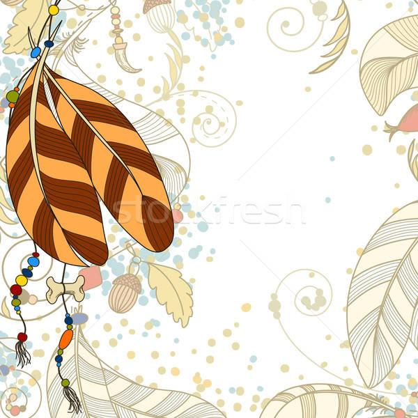 üdvözlőlap tollak gyöngyök terv háttér toll Stock fotó © 0mela