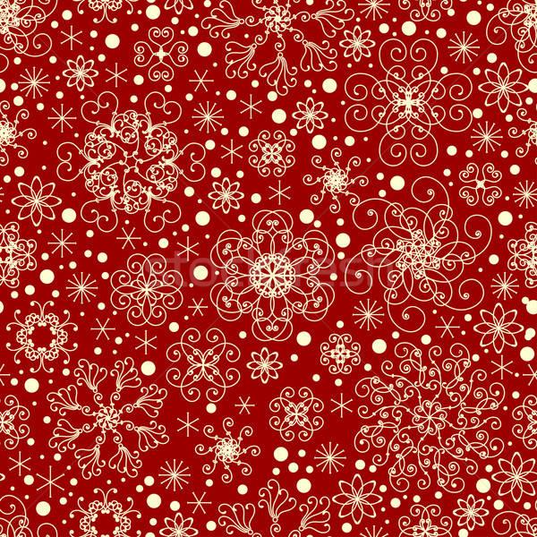 Stockfoto: Naadloos · sneeuwvlokken · patroon · natuur · ontwerp · sneeuw