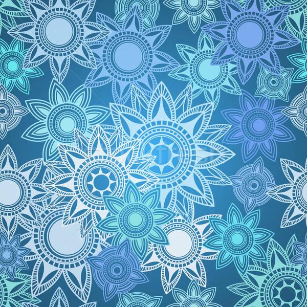 Stockfoto: Naadloos · textuur · abstract · meetkundig · sneeuwvlokken · bloem