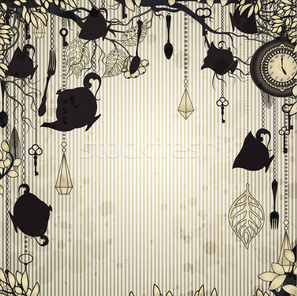 Abstract vintage background with tea party theme Stock photo © 0mela