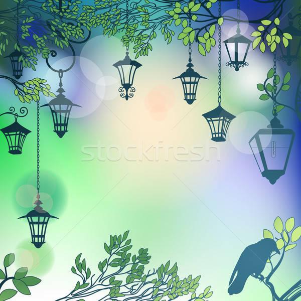 Soyut ağaç Retro sokak lambalar Stok fotoğraf © 0mela