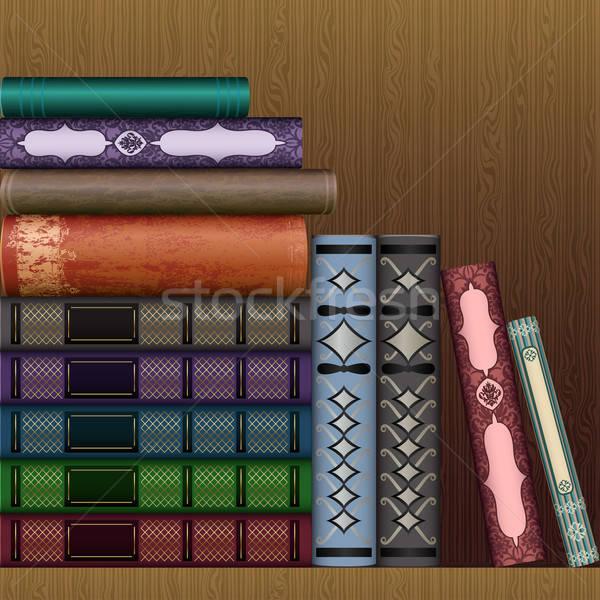 Vecteur plateau vieux livres art or Photo stock © 0mela