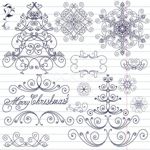 Set Natale scarabocchi albero frame inverno Foto d'archivio © 0mela
