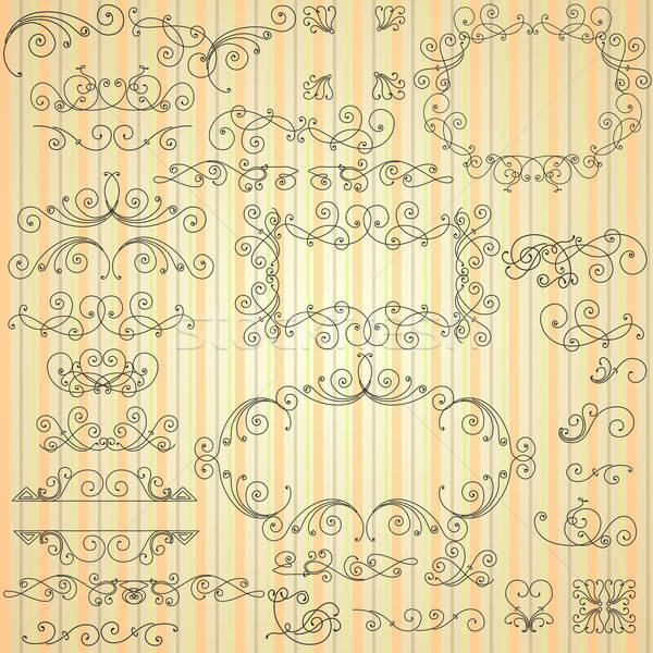 Stock photo: Set of calligraphic swirls for design