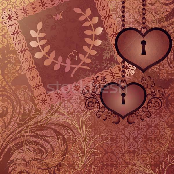 Bağbozumu düğün davetiyesi iki kalp çerçeve sanat Stok fotoğraf © 0mela
