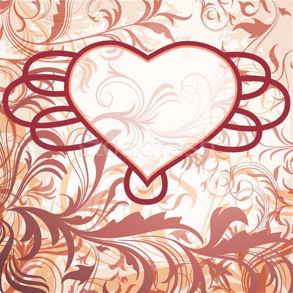 Klasszikus virágmintás dekoráció szív keret szett Stock fotó © 0mela