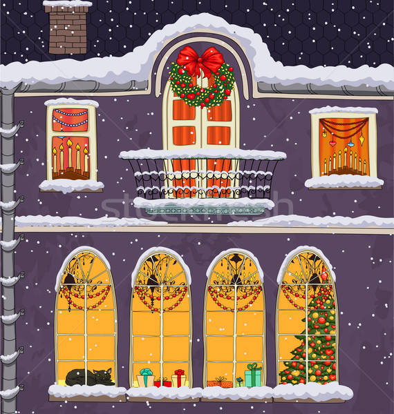 Hand-drawn Christmas background with windows at night Stock photo © 0mela