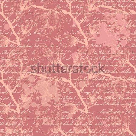 Vintage różowy magnolia kwiaty wiosną Zdjęcia stock © 0mela