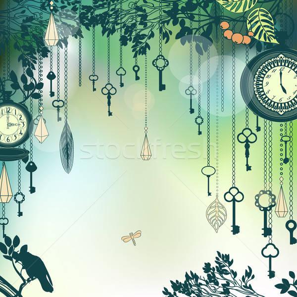 Bağbozumu yeşil tuşları saatler saat soyut Stok fotoğraf © 0mela