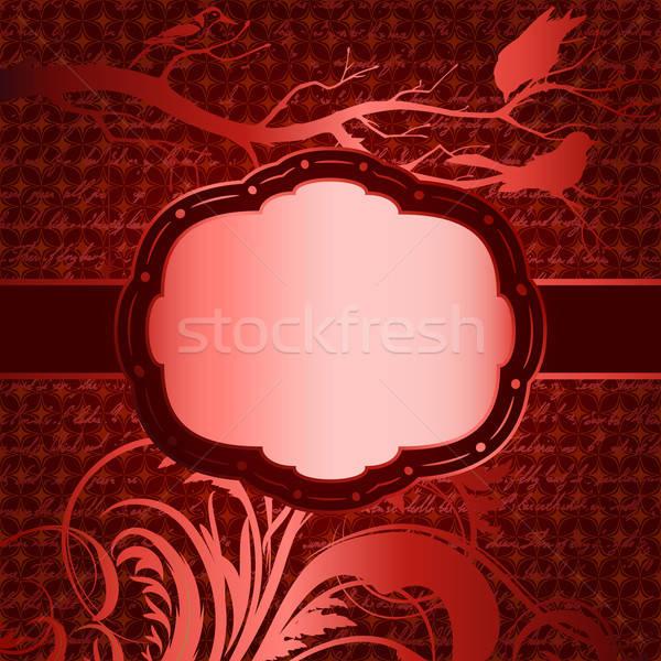 Piros luxus faág madarak sziluettek terv Stock fotó © 0mela