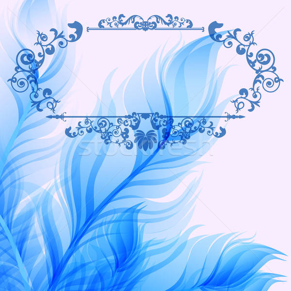 Vintage abstract background with blue feathers Stock photo © 0mela