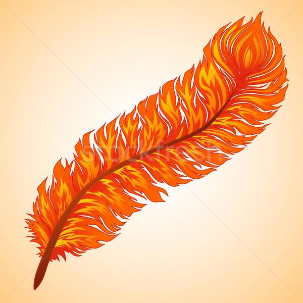 Vektör ateşli tüy turuncu dalga Retro Stok fotoğraf © 0mela