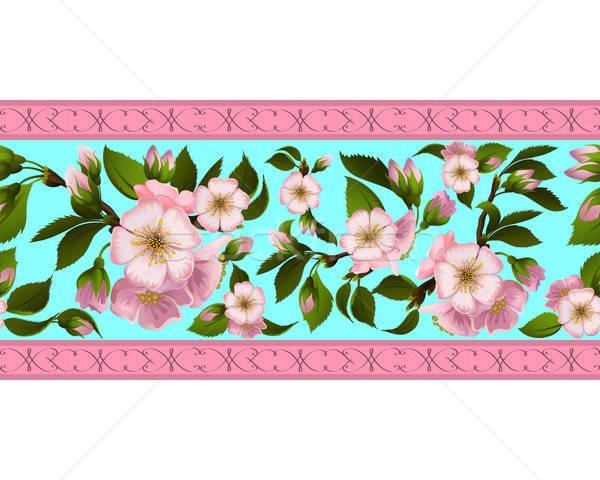 Frontière fleurs fleur printemps Photo stock © 0mela