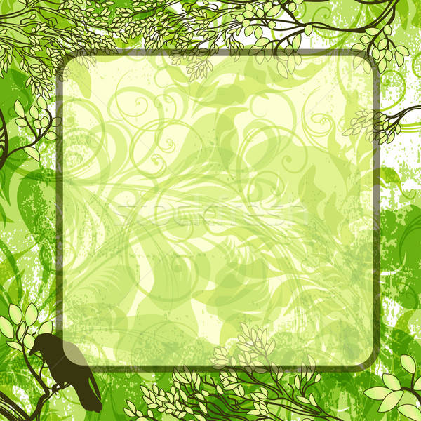 Vector green square background with tree branches and crow Stock photo © 0mela