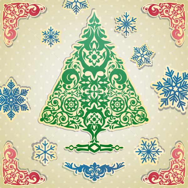 Stok fotoğraf: Kart · stilize · vektör · noel · ağacı · mutlu · siluet