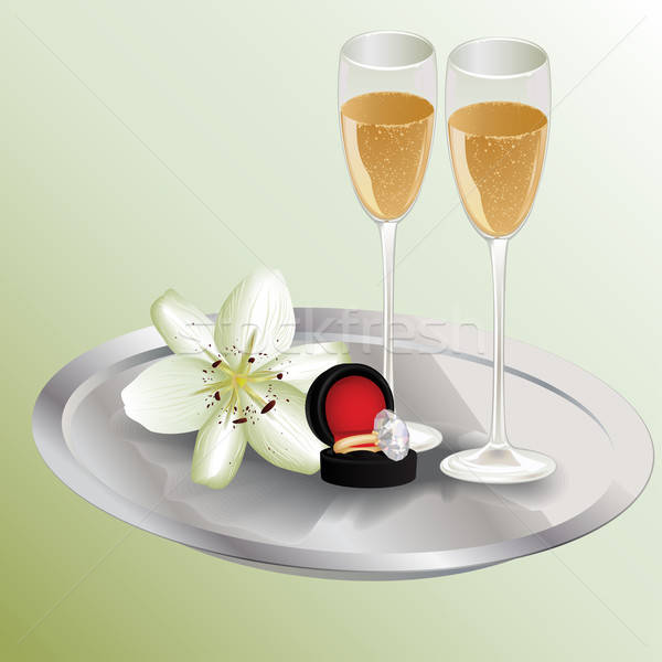 Champagne glasses, diamond ring and lily flower on the tray Stock photo © 0mela