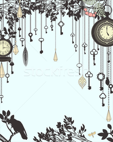 Clock and keys vintage vertical background Stock photo © 0mela