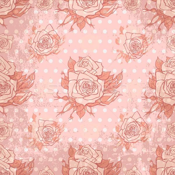 Vektor régi tapéta végtelenített rózsa minta virág Stock fotó © 0mela