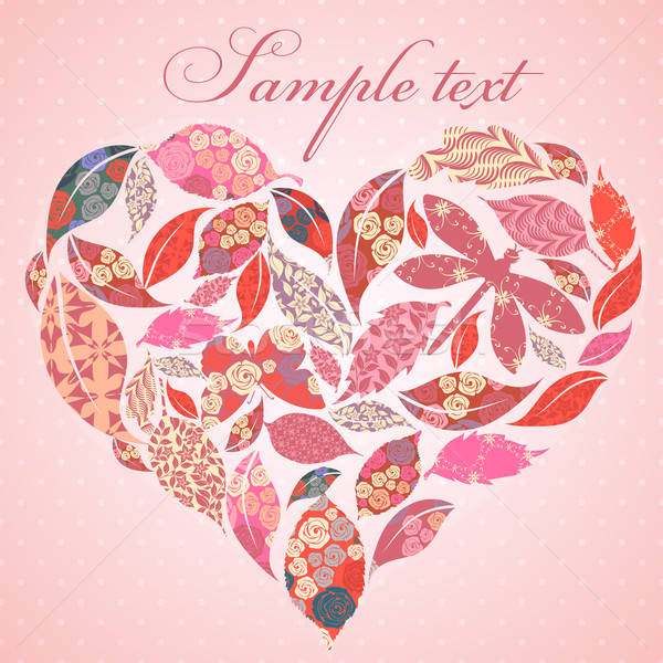 Valentijn hart bladeren liefde blad Stockfoto © 0mela