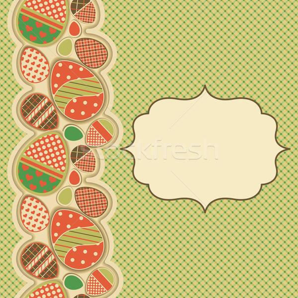Paskalya tebrik kartı sınır mutlu boya Stok fotoğraf © 0mela