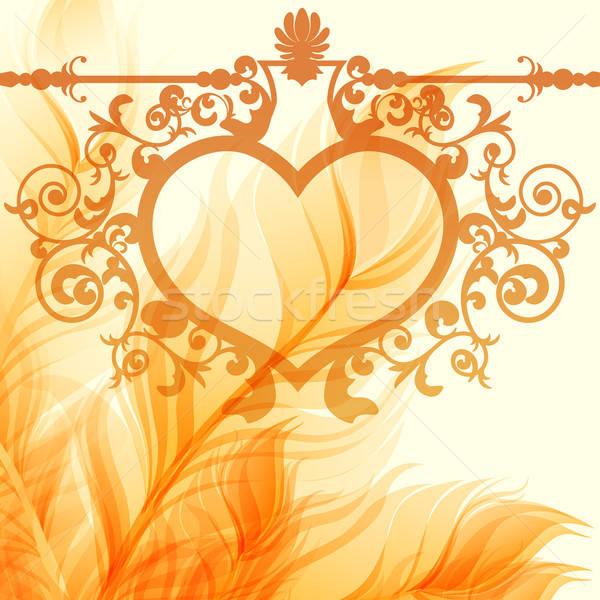 Vintage valentine background with wrought heart frame Stock photo © 0mela