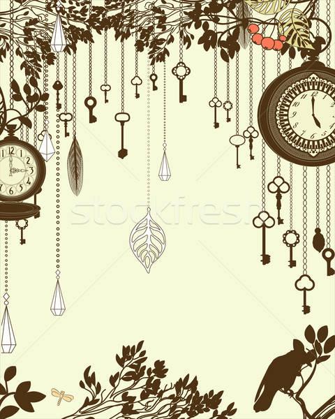 Saat tuşları bağbozumu dikey parti dizayn Stok fotoğraf © 0mela