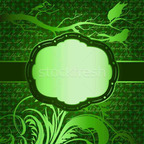 Stockfoto: Groene · luxe · vogels · silhouetten · papier