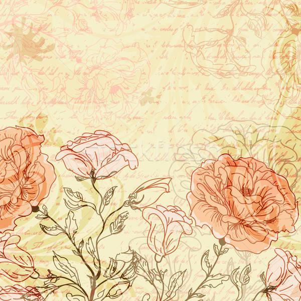 Koszos retro rózsák kéz terv háttér Stock fotó © 0mela