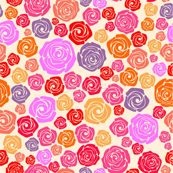 Stock photo: Colorful rose seamless pattern