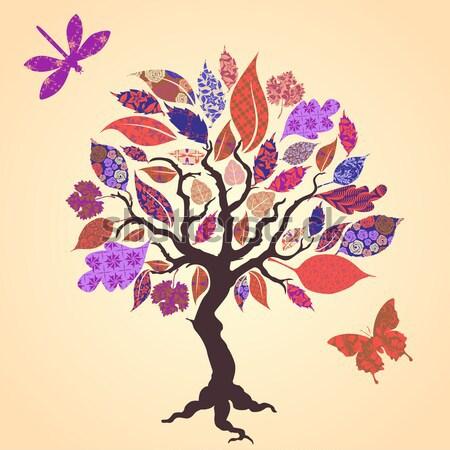 Stok fotoğraf: Vektör · ağaç · yaprakları · gül · güzellik