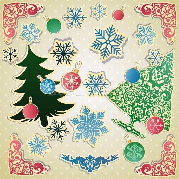 Vektor szett karácsony tárgy konzerv használt Stock fotó © 0mela