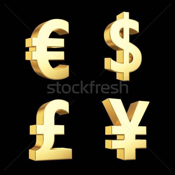 Or monnaie symbole symboles isolé Photo stock © 123dartist