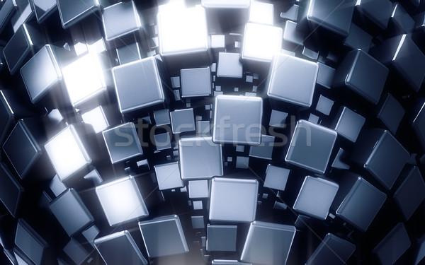 3D brillant métal cubes texture design Photo stock © 123dartist