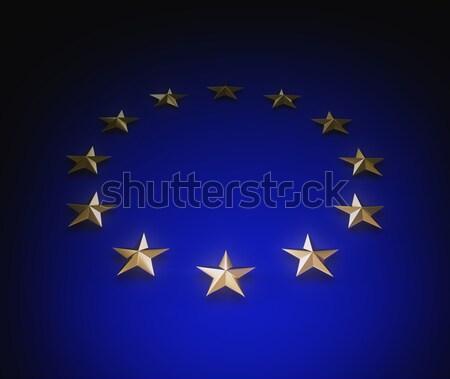 Européenne Union pavillon or étoiles bleu Photo stock © 123dartist