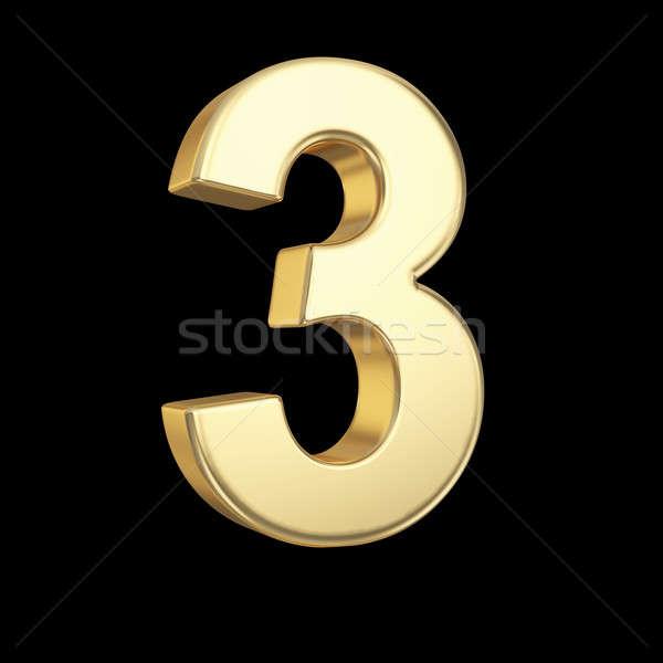 Nombre trois or isolé noir Photo stock © 123dartist