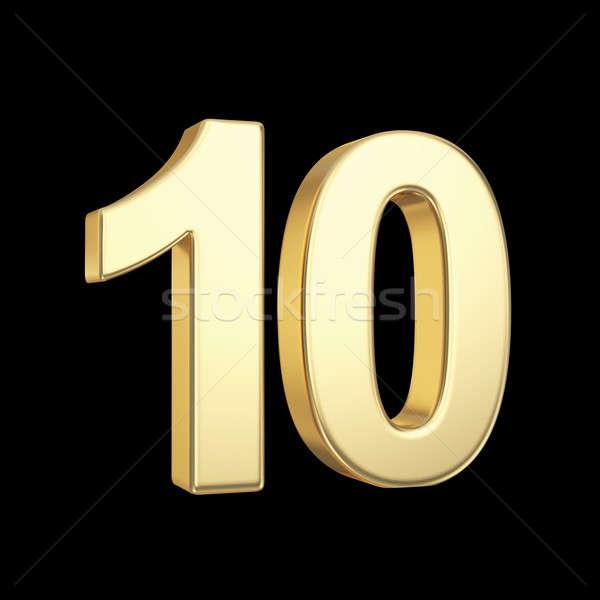 Rojo número 10 diez dorado aislado Foto stock © 123dartist