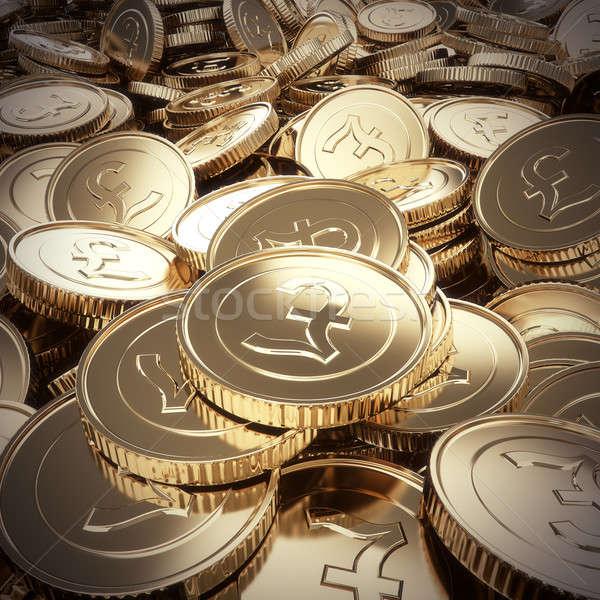 Golden pound coins background Stock photo © 123dartist