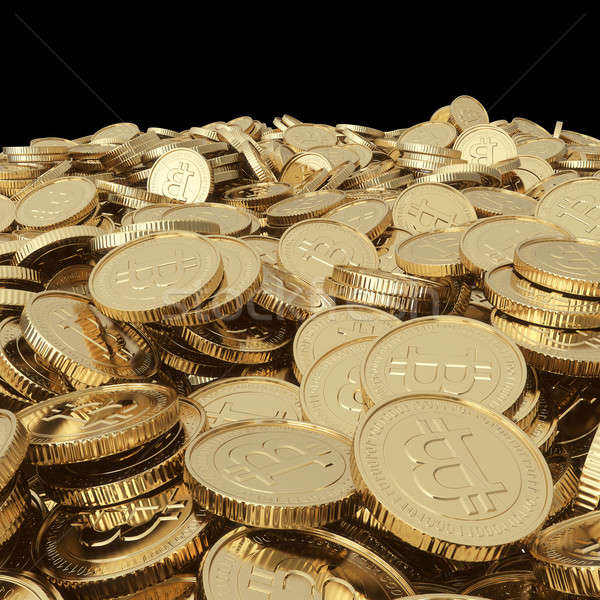 Stock photo: Golden bitcoin coins on balck
