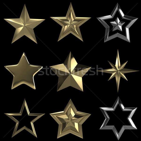 3D étoiles ensemble or isolé Photo stock © 123dartist