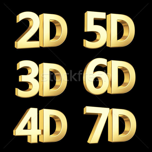 Golden dimension symbols isolated on black
