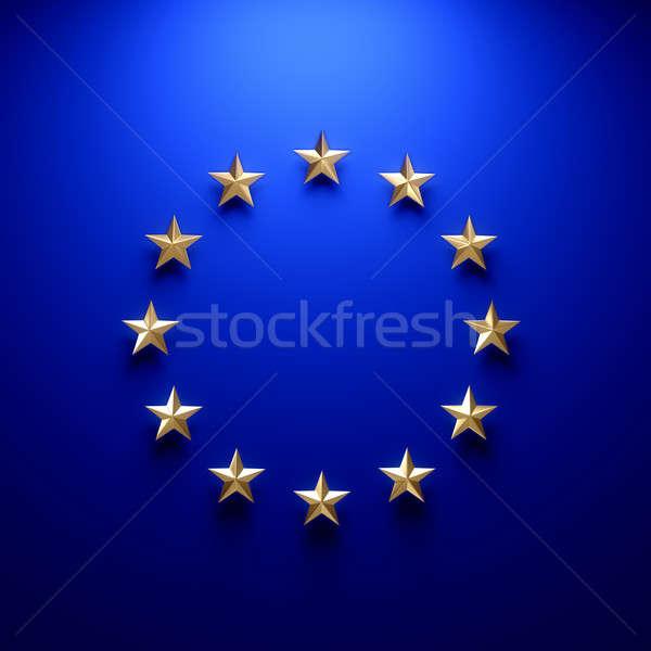 Européenne Union pavillon mur lumière ordinateur Photo stock © 123dartist
