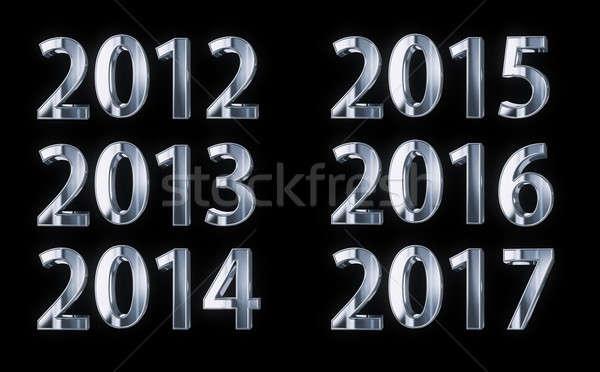 Argent année nombre ans isolé noir Photo stock © 123dartist