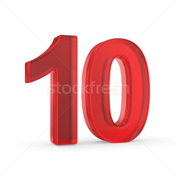 Rojo número 10 diez aislado Foto stock © 123dartist