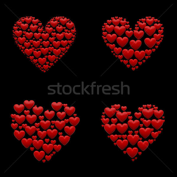 Set of 4 hearts 3d ilustrations Stock photo © 123dartist